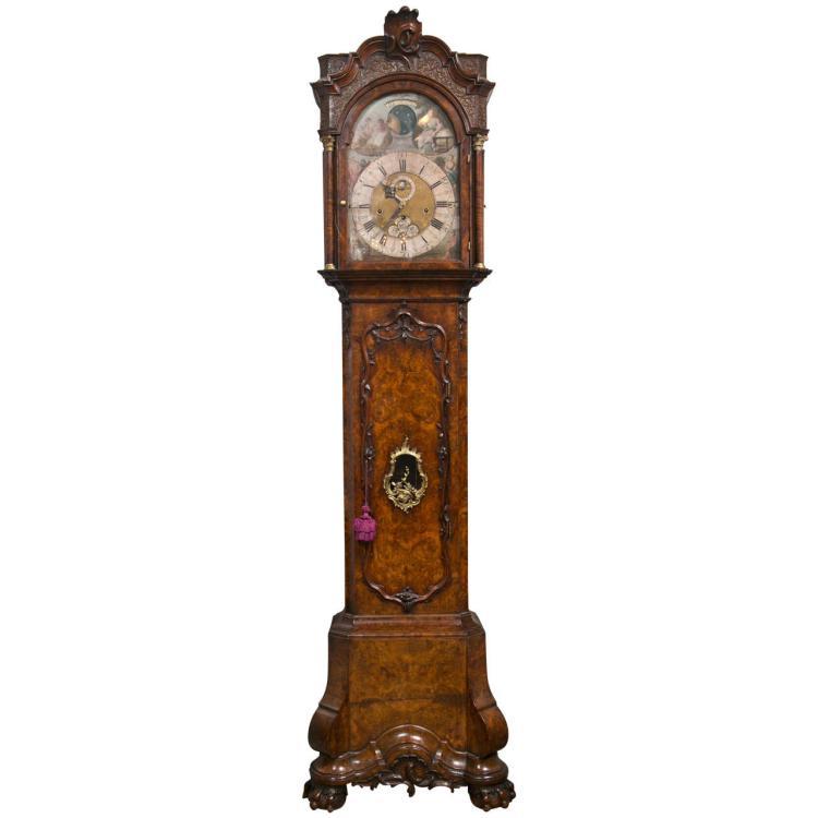 18TH Century Burl Walnut Tall Case Clock by Gerrit Knip