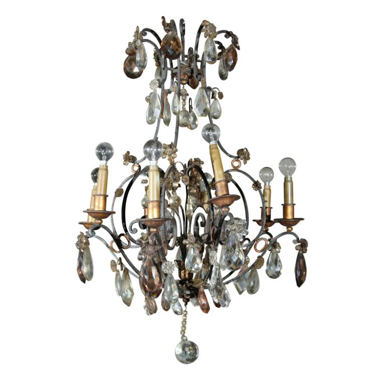 Jansen Bronze and Crystal Chandelier