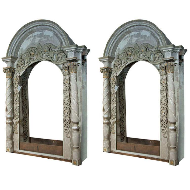 Pair Monumental Architectural Elements Arched Doors