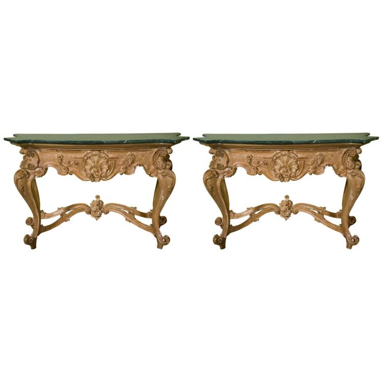 Pair of French Baroque Style Consoles by Jansen
