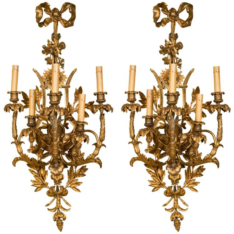 Pair of French Belle Epoque Style Wall Sconces