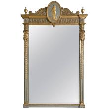 19th Century French Parcel-Gilt Painted Swedish Mirror with Carved Figures