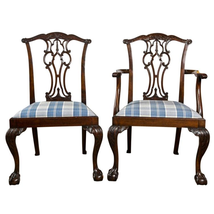 Set of Eight Chippendale Dining Chairs with Ball and Claw Feet