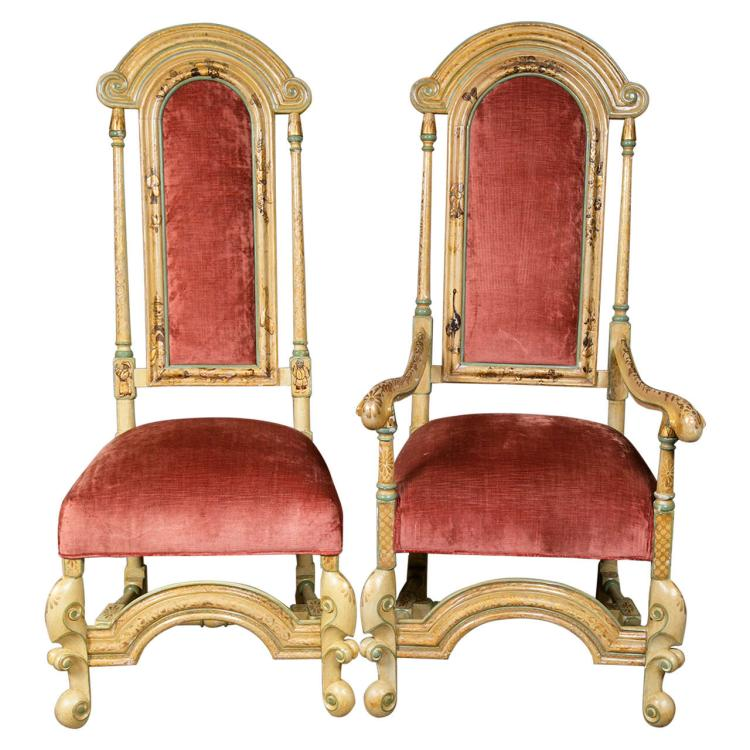Set of Ten Highly Decorative Custom French Chinoiserie Dining Chairs