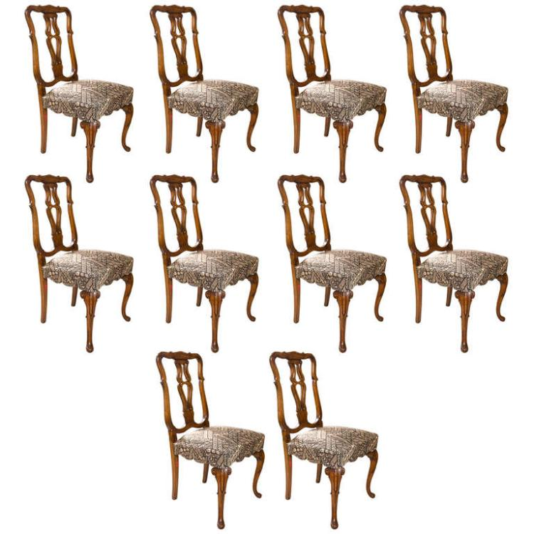 Set of Ten Queen Anne Styled Dining Chairs