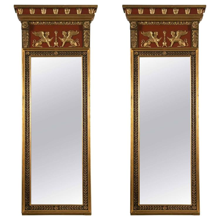 Pair of 19th Century Russian Neoclassical Style Mirrors