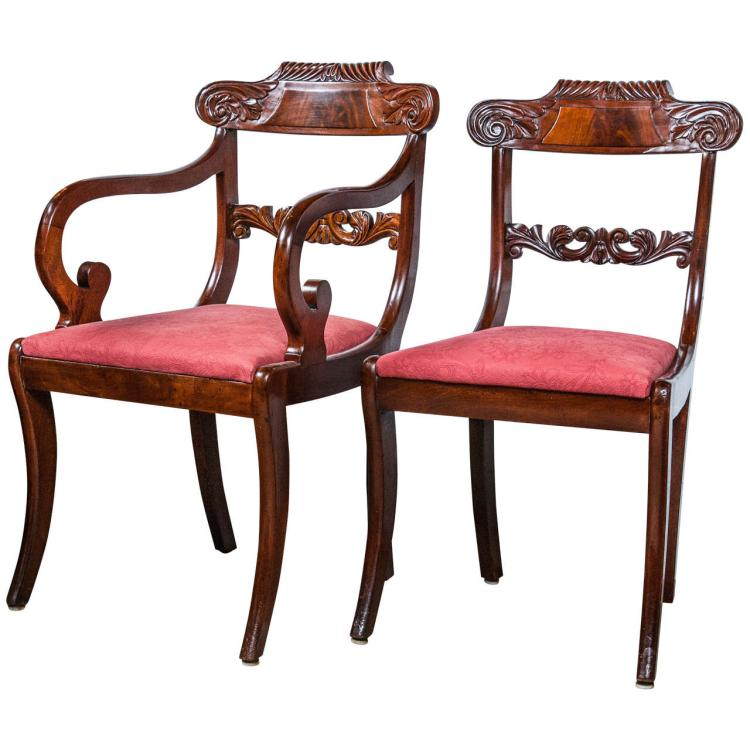 Set of Eight English Regency Dining Chairs, 19th Century