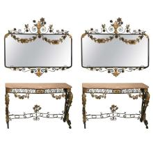 Pair of Art Deco Metal Consoles with Matching Mirrors