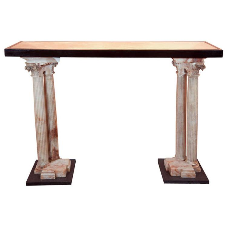 Neoclassical Alabaster Column Console