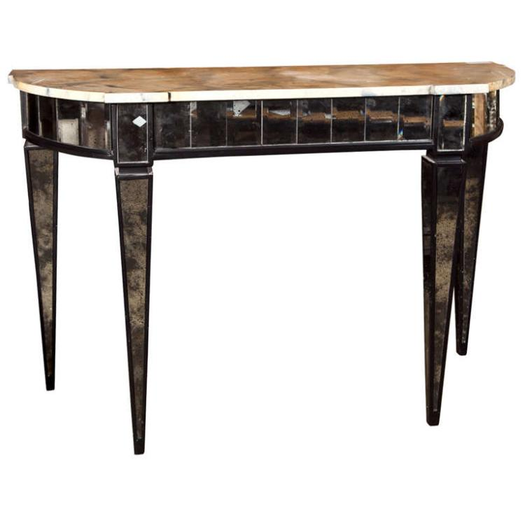 Maison Jansen Mirrored Demilune Console Tables