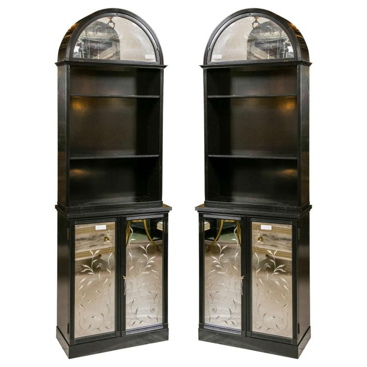 Pair of Etched Glass Dome Cabinets Attributed to Maison Jansen