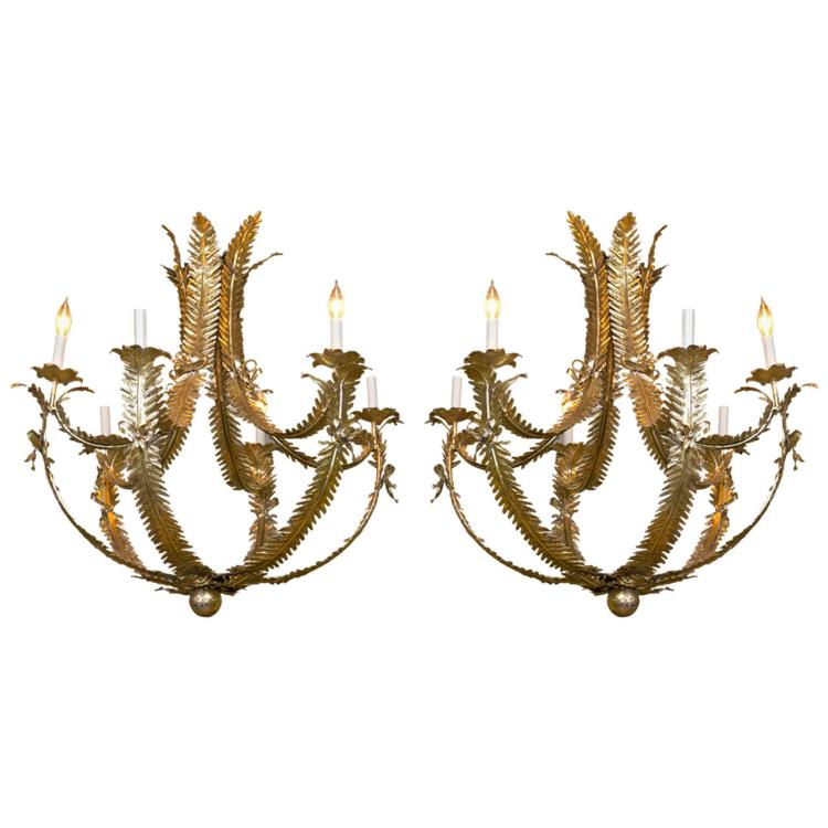 Pair of Hollywood Regency Style Chandeliers