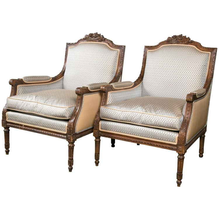 Pair of Finely Carved Walnut Frame Fauteuils by Jansen
