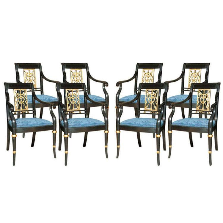Set of Eight Maison Jansen Painted Arm Chairs