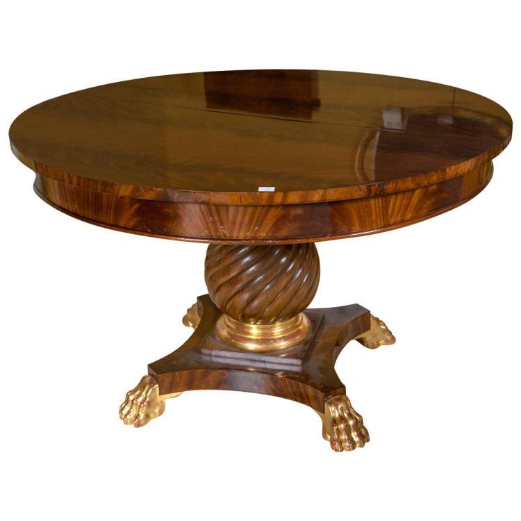 Empire Style Flame Mahogany Circular Dining Table