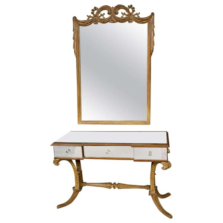 Grosfeld House Art Deco Style Flu de Plume Vanity and Mirror