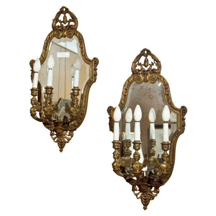 Pair of Neoclassical Bronze Wall Sconces