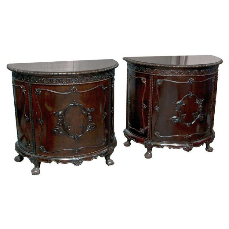 Pair of Gerogian Style Demi Lune Commodes