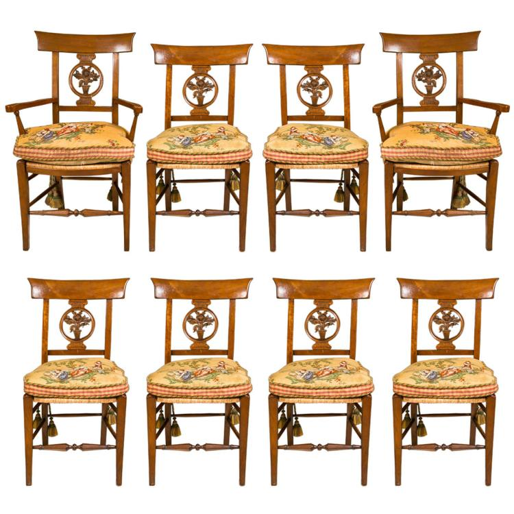 Set of 8 English Provincial Dining Chairs