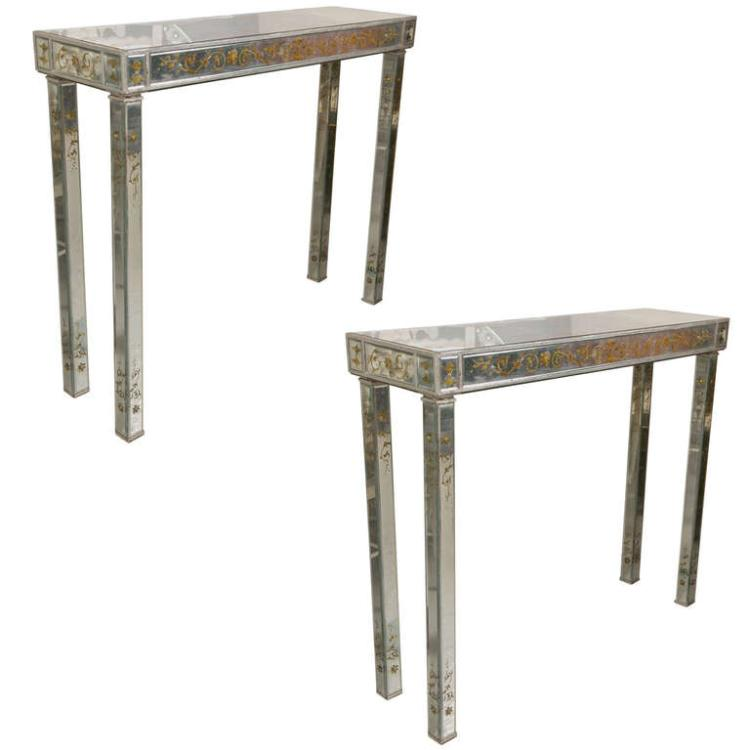 Pair of Jansen Style Verne Eglomise Console Tables