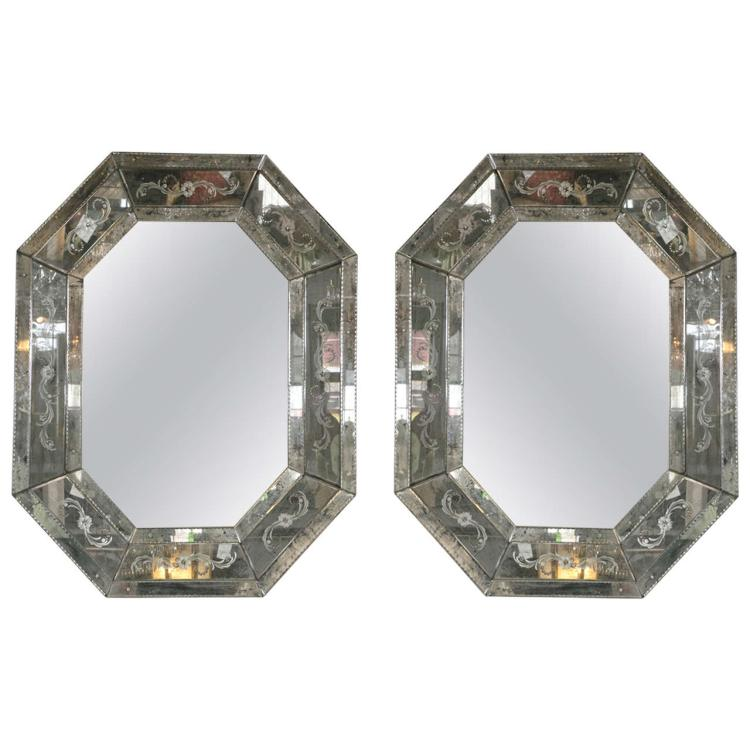 Pair of Palacial Octagonal Venetian Style Mirrors