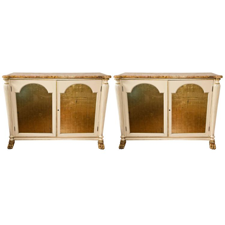 Pair of Regency Style Marble Top Cabinets
