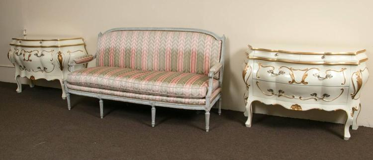 Distressed Paint Decorated Louis XVI Style Settee by Jansen