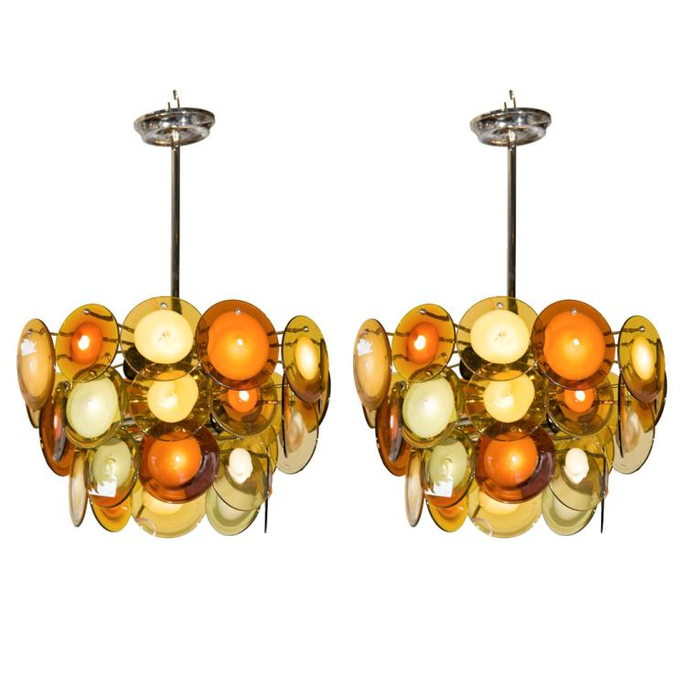 Pair of Art Deco Style Glass Disc Fixture