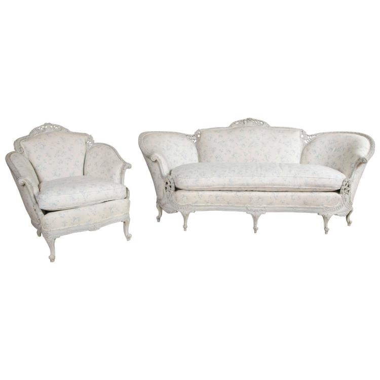 Louis XV Style Sofa with Matching Wing Chair Swedish Paint Decorated
