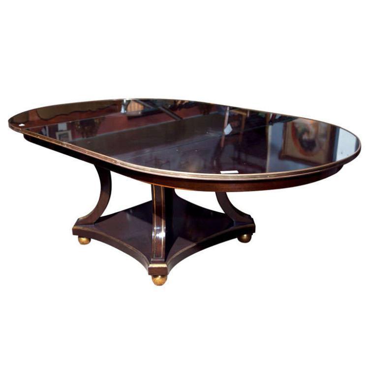 Maison Jansen Mahogany Circular Pedestal Dining Table