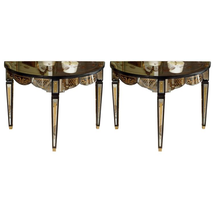 Pair Gilt Decorated Eglomise Mirrored Demilune Console Tables