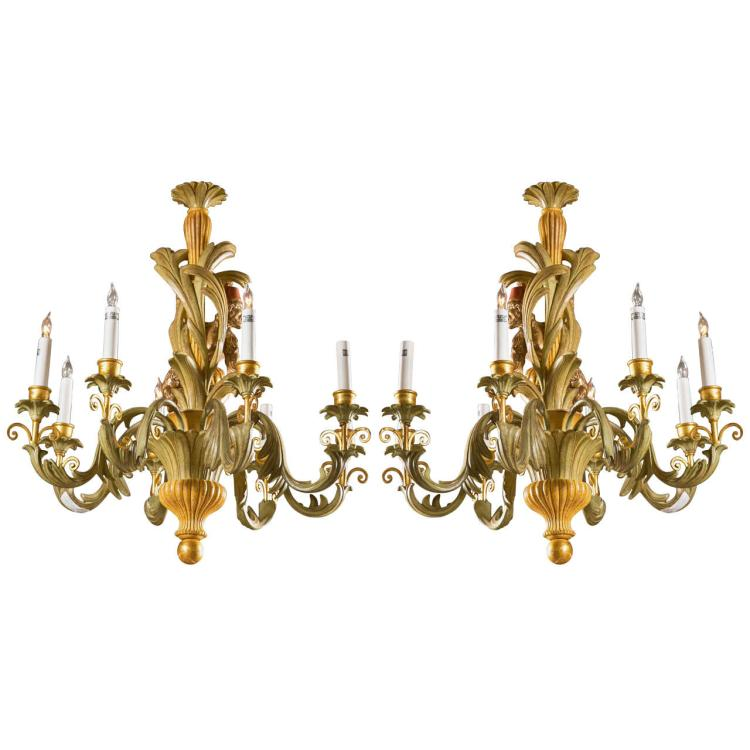 Pair of French Painted Wooden Chandeliers