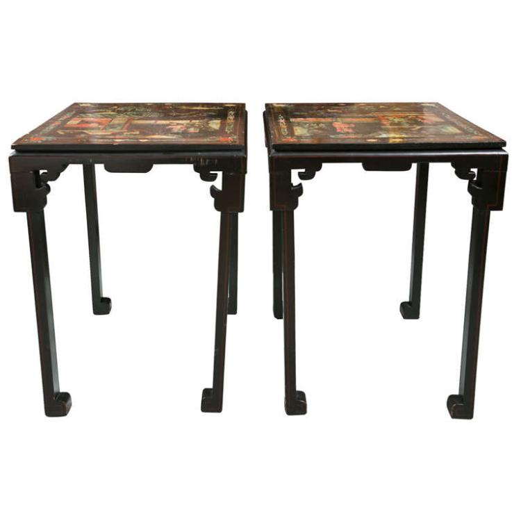 Pair of 19th C. Chinoiserie Style Side Tables
