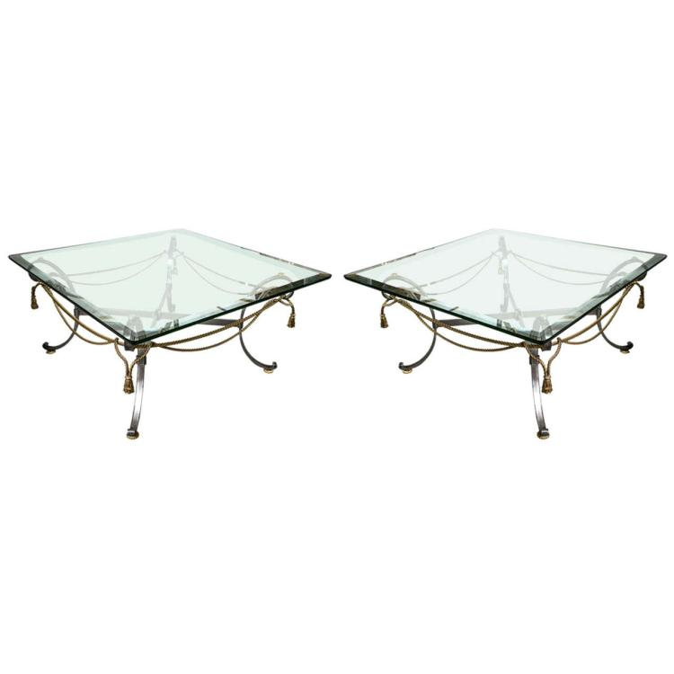 A Pair of Tassel and Ribbon Form Coffee Low Tables