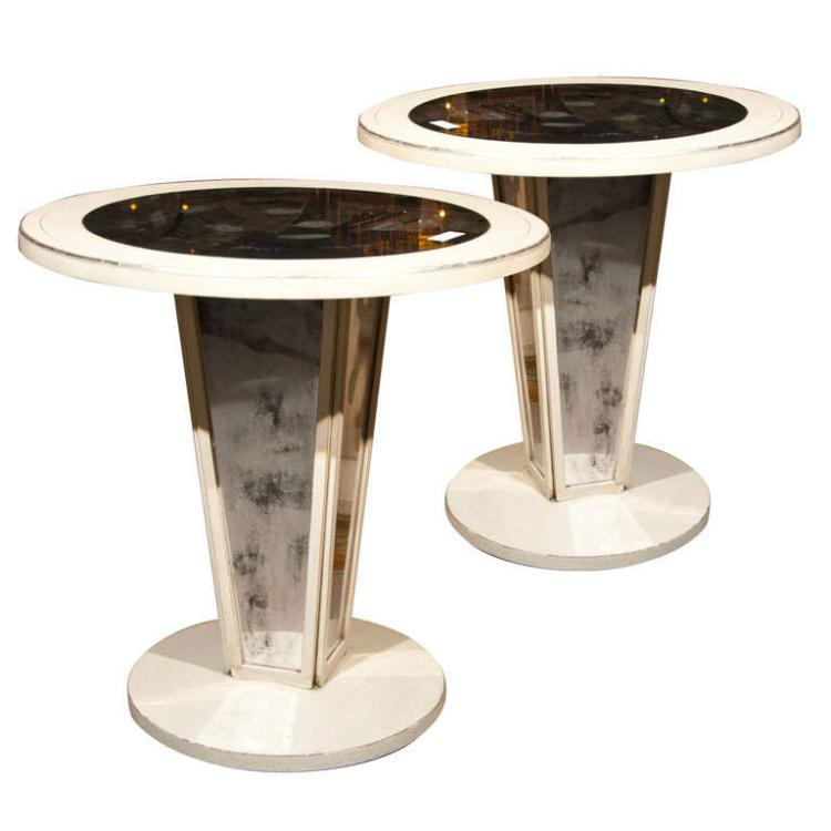 Pair of Maison Jansen Paint Decorated Mirrored Side Table