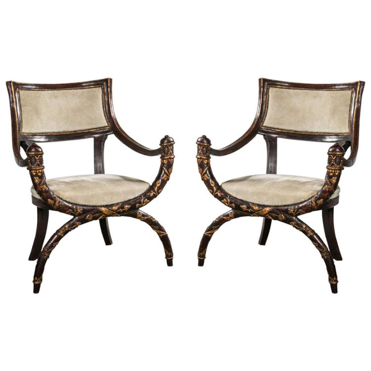 Pair of Italian Curule Arm Chairs