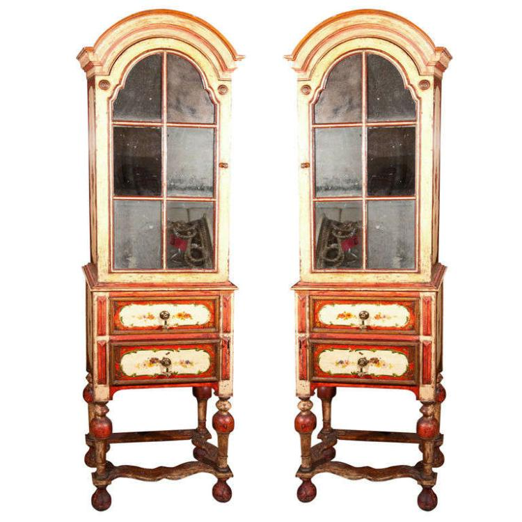 Pair William & Mary Style Painted Cabinets