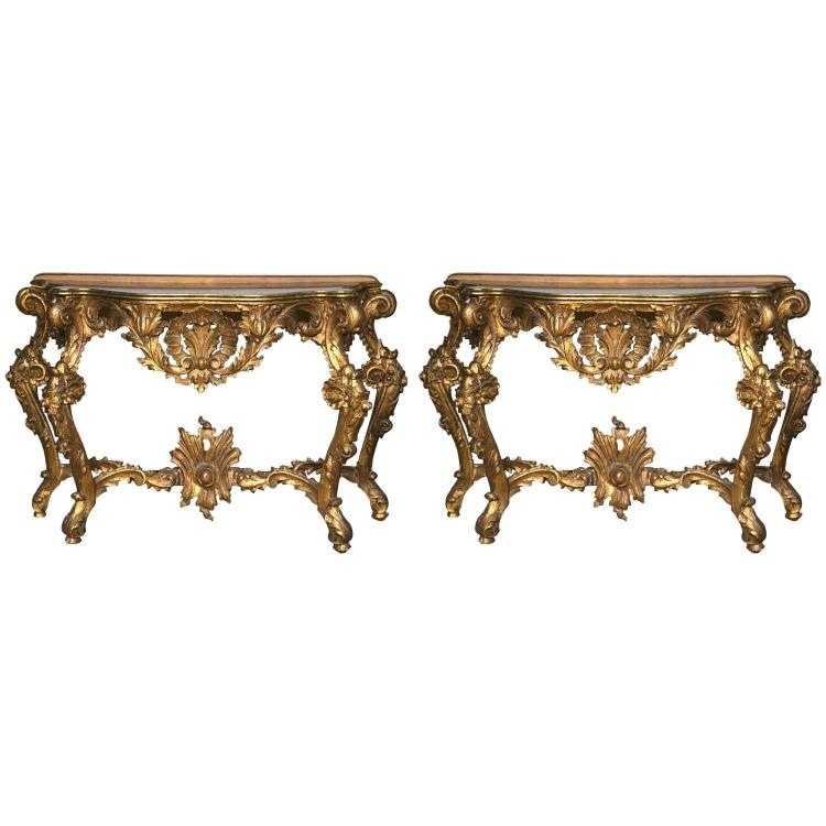 Pair of Italian Giltwood Consoles with Faux Marble Top