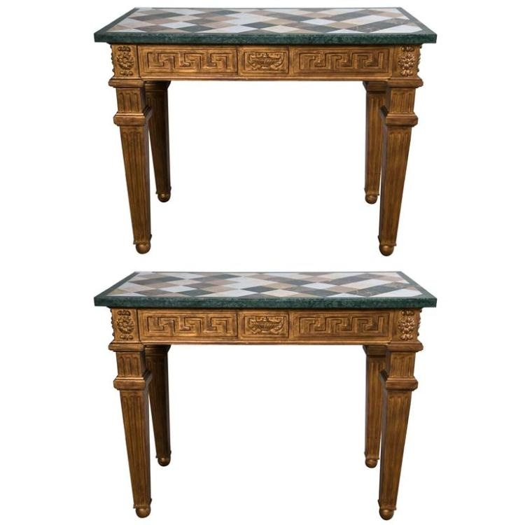 Pair of Neoclassical Style Marble-Top Greek Key Design Console Tables