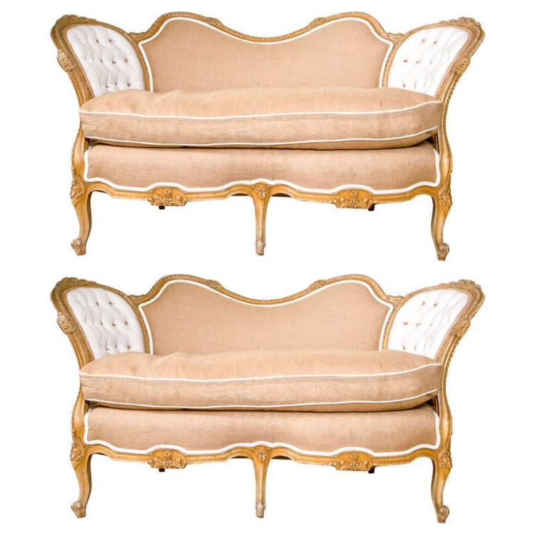 Pair of Carved Louis XV Style Canape-Settees