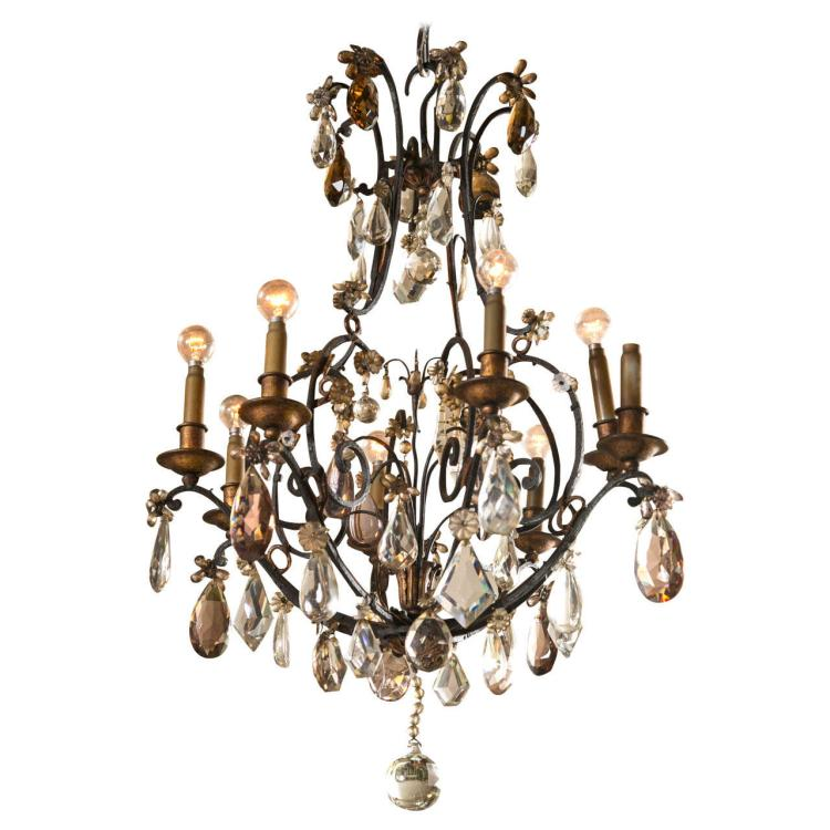 A Wrought Iron and Crystal Chandelier by Jansen