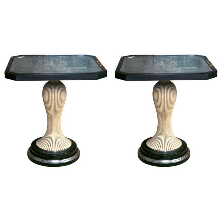 Pair of Painted Silver-leaf Glass Top End Tables