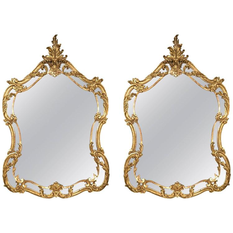 Pair of Italian Leaf and Scroll Giltwood Mirrors