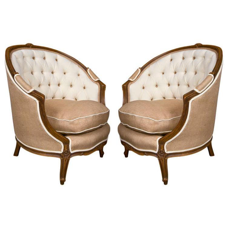 Pair of French Louis XIV Style Walnut Bergere Chairs