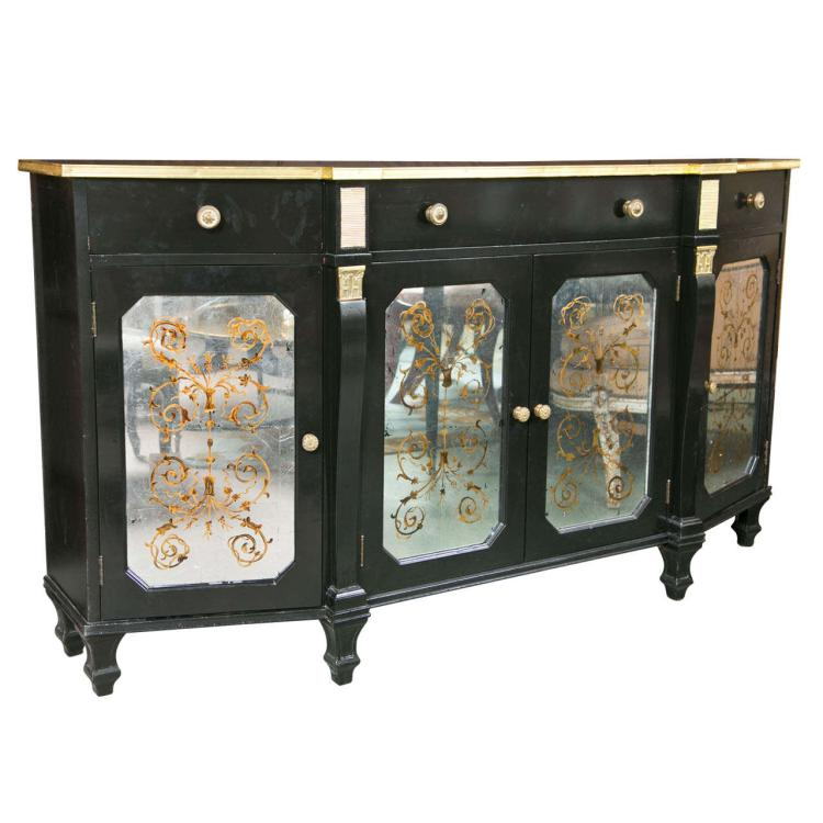 Hollywood Regency Style Ebonized Sideboard by Jansen