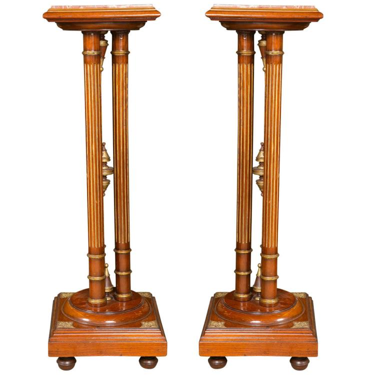 Pair of Regency Style Mahogany Pedestals