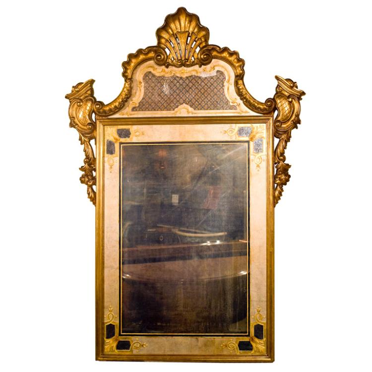 Jansen Stamped ?glomis? Mirror with Giltwood Frame