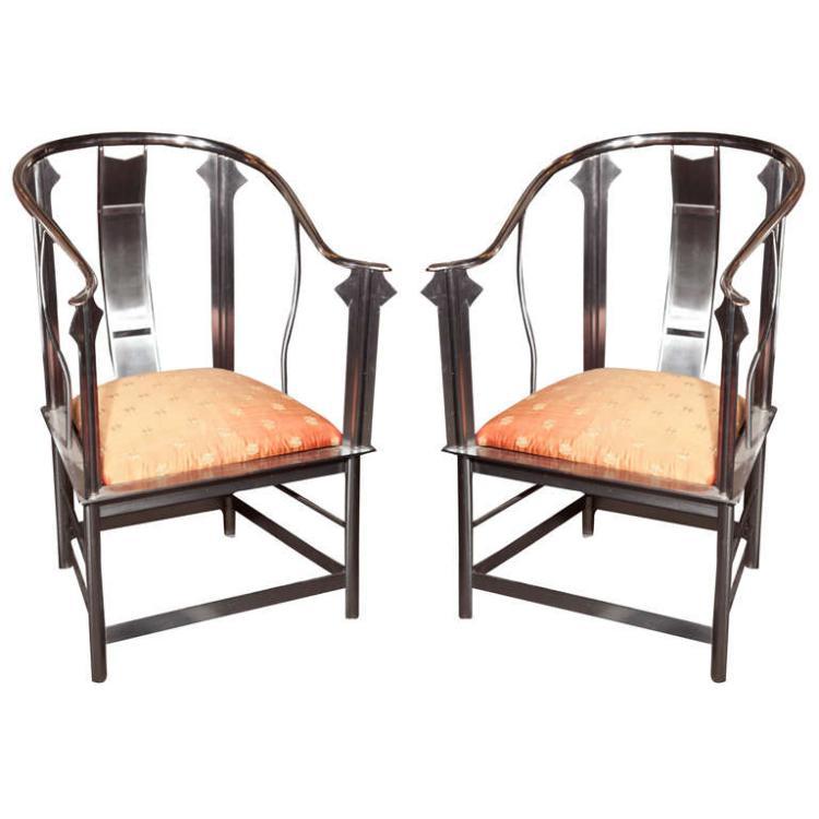 Pair of Steel Throne Chairs attrib Jansen