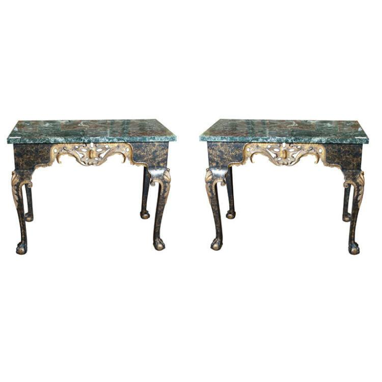 Pair of Georgian Style Marble Top Console Tables