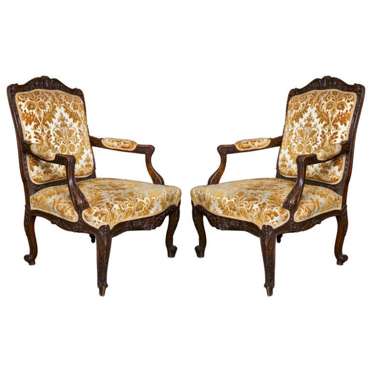 Pair of French Louis XV Style Walnut Armchairs
